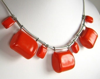 Chunky Orange capacitor necklace v2.a