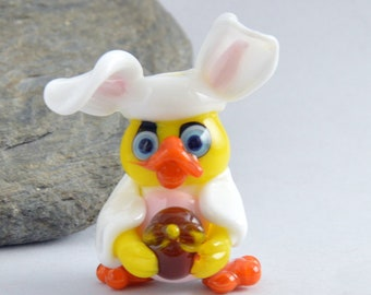 EASTER Chicken, Lampwork Glass Easter Chicken Bead,   Glass Sculpture Collectible, Focal Bead, Pendant, Izzybeads SRA