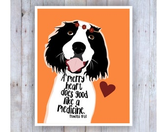 Happy Dog, Springer Spaniel Art, Proverbs 17:22, Inspirational Wall Decor, Pet Art, Smile Artwork, Animal Prints, Funny, Bible Verse