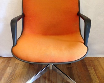 Steelcase Office Chair with Black Shell & Orange Upholstery