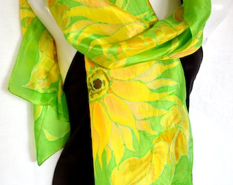 """Hand Painted Silk Scarf, Sunflowers Silk Scarf Handpainted, Green Yellow, 71"""" x 18"""", Gift For Her"""