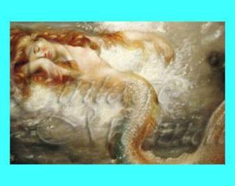s33 Vintage Victorian Mermaid Print QUILT FABRIC BLOCKS Panel Applique.