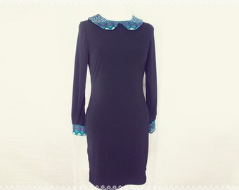 Peter Pan Collar Dress in Charming Aztec and Black - Size Medium, Mod, '60s Inspired, Black Dress