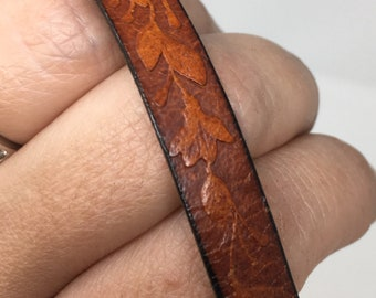 Vintage Leather Floral Embossed Bracelet
