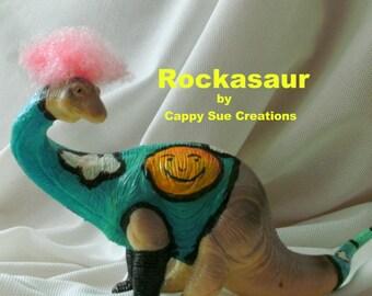Rockasaur  Brachiosaurus rock and roll dinosaur art doll