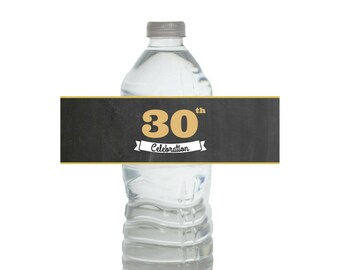 30th Water Bottle Label Anniversary, 30 Years Water Bottle Labels PRINTABLE, 30th Water Labels, 30th Birthday for Him, 30 Gold Water Labels
