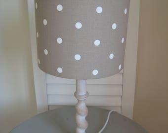 Brown and Cream Dotty Fabric Lamp Shade