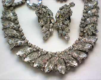 Super Sparkling Marquis Cut Rhinestone Necklace with Earrings - 5893