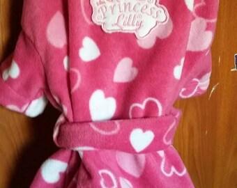 Fleece gown. Hearts pattern.