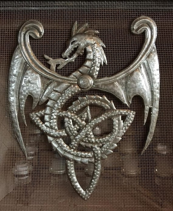 "Metal Dragon with Celtic Knots, Artistic Haitian Metal Wall Artwork 14"" x 17"""