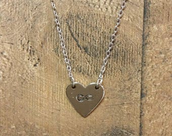 "Infinity Metal Stamped Heart Necklace 18"" chain"