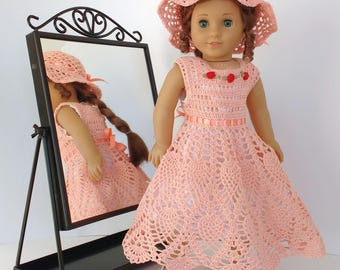 Doll clothes fit American Girl doll and similar 18 in dolls, Hand crocheted vintage-style party dress and hat, cotton crochet lace dress