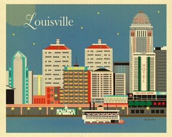 Louisville Art, Louisville Skyline, Kentucky Art Print, Louisville Wall Art, Louisville Wedding Print, Kentucky horizontal, style E8-O-LOV