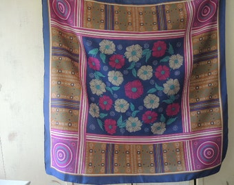 Vintage 1970s scarf polyester floral flowers magenta navy blue teal brown  31 x 31 inches