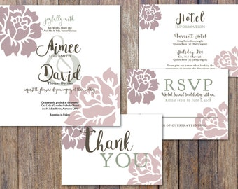 Dusty Rose and Sage Green Eucalyptus Wedding Invitation Printable