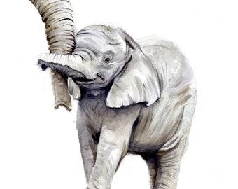 Elephant Watercolor Painting, Animal Art, Elephant Painting, Elephant Watercolor, Nursery Art, Elephant Art, Elephant Decor, Elephant Print