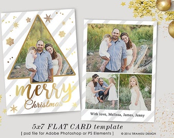Christmas Card Template, 5x7in Holiday Card Adobe Photoshop psd Template, sku xm16-1