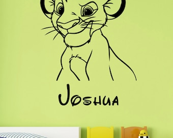 Custom Name Simba Wall Decal Personalized Sticker Lion King Art Disney Decorations for Home Teen Kids Boys Room Bedroom Nursery Decor ling14