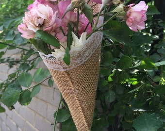 1pc Hanging burlap lace Basket Pew Cone wall organizer Rustic home Wedding decor