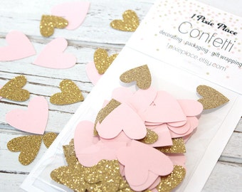 Pink and Gold Heart Confetti - 100 pieces