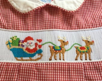 Hand Smocked Red Gingham 3 Month Anavini Baby Velani Vintage Boy Christmas Bubble Onesie Romper Outfit with Santa, Sleigh and Reindeer