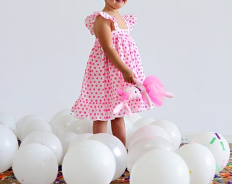 Girls Pink and White Cotton Summer Dress. Cotton Ruffle Dress.  Size 1yr, 2yrs,4yrs,6yrs,8yrs,10yrs