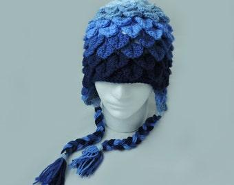 Blue Ombre Crochet Crocodile Stitch Hat