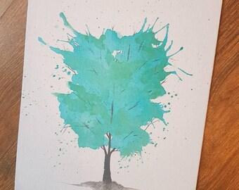 """Turquoise tree (8 """"× 10"""")"""