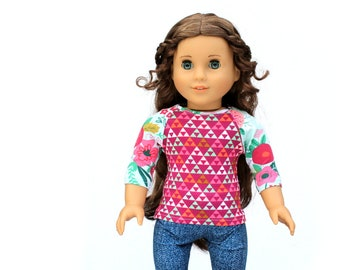 Fits like American Girl Doll Clothes - Floral and Chevron Magenta Raglan Tee | 18 Inch Doll Clothes