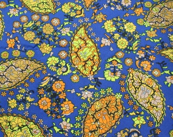 Vintage Blue Orange Gold Paisley Polyester Fabric, Retro Mod Blouse Dress Lingerie Fabric Material 2 3/4 yards