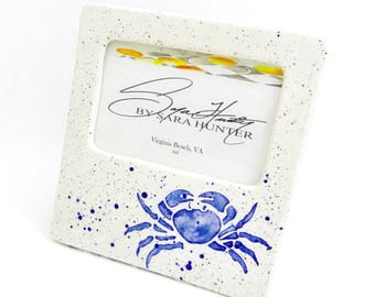 Picture Frame. Blue Crab Picture Frame. Crab. Sea Life. 4x6. Handmade by Sara Hunter Designs