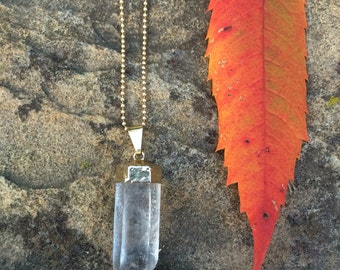 "Crystal pendant on 14K gold filled beaded chain, clear quartz crystal, 18"" chain, crystal,"