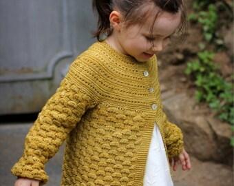 """Knitting Pattern """"Elisa"""" cardigan (6 months to 14 yo)"""