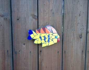 Tropical fish sculptures, tile mosaic fish, fence ornaments, fish sculptures, fence decoration, pool decoration