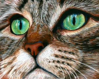 Tabby Cat Painting Print, Cat Print, Art Print, Reproduction, Cat, Pet, Portrait, 5 x 7, Realism, Giclee, Pastel, Painting, Fine Art