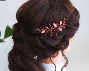 Pink opal Hair vine-Crystal Weddind Hair Comb- Bridal Hair Vine -Wedding hair piece-Bridal headpiece-Wedding hair vine-Rose gold Hair Vine