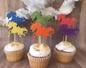 One dozen rainbow unicorn cupcake toppers/unicorn pary/rainbow party/birthday party