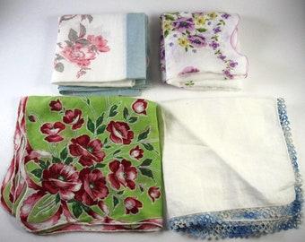 vintage Hankies,Handkerhiefs , linen, Lot of 4, floral,spring