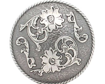 "Dual Cactus Flower Antique Nickel Concho 1"" 4663-21"