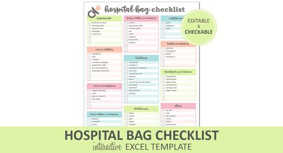 Krankenhaus-Tasche-Checkliste bearbeitet druckbare Excel