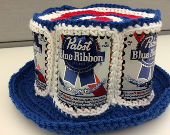 Recycled Pabst Blue Ribbon crocheted beer can hat