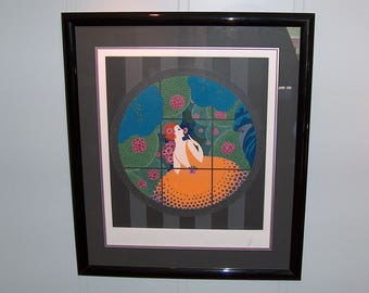 """p7058: ERTE """"Winter Flowers"""" Original Serigraph Print Hand S/N COA Limited Edition Certificate of Authenticity at Vintageway Furniture"""
