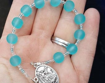 Matte Frosted Blue Pocket Rosary Guardian Angel St Michael