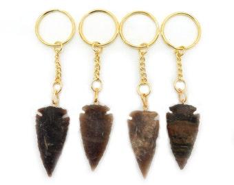 Arrowhead Keychain Jasper Keychain - Natural Jasper Arrow head Gold Tone Key chain (RK42B2)