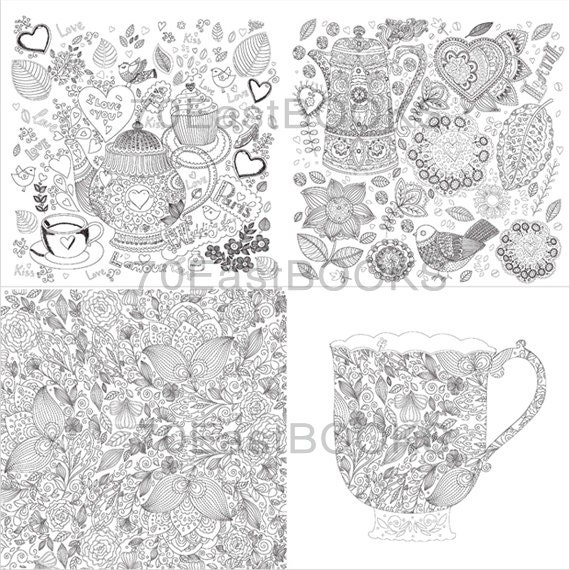 Cafe Coloring Book For Cup Tea Food Cake Adult Anti Stress