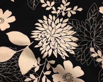 Black and white floral printed woven fabric , Cotton fabric, DIY fabric home decor fabric 1/2 yard