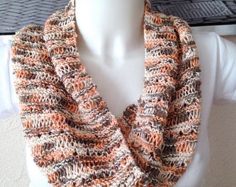 CLEARANCE - Snood spring infinity knit openwork salmon brown white