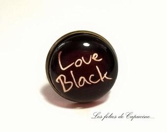 cabochon glass •LOVE BLACK•