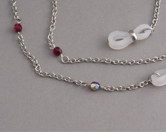 Silver tone Eyeglass Chain Red Crystal faceted round beads vitrial ab aurora borealis spectacles sunglasses accessories 20 inches 57 cm