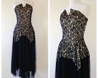 Vintage Late 1940's/Early 1950's Strapless Gown   Vintage 1950's Dress   Vintage 1940's Dress  